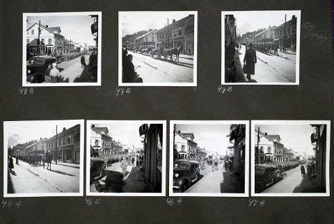 Aprildagene 1940: Tyskernes innmarsj gjennom Storgata i Gjøvik ble fotografert fra butikktrappa. Foto: Nelly Westby Knutsen/Mjøsmuseet