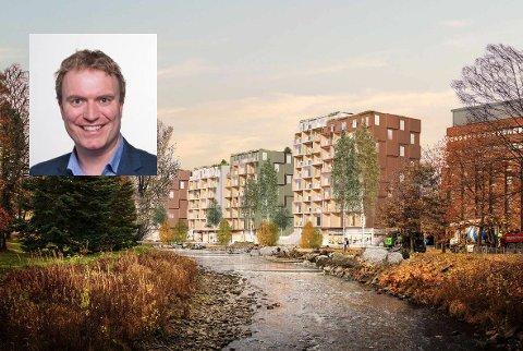 GLAD: Befolkningstallet synker i Gjøvik, men øker i sentrum. Even Kyseth (H) er overbevist om at Gjøvik trenger Farverikvartalet. Torsdag ble utbyggingsavtalen godkjent.
