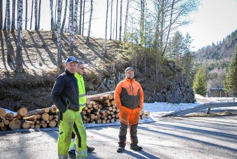 VENTER FORTSATT: Bøndene i Lindsholmveien i Lardal begynte å mase på Statens vegvesen i 2017. – Nå er det slutt på å være stille, sier Lars Bergsli (foran).