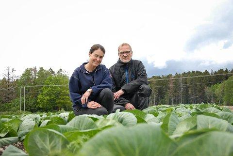 IVRIGE BØNDER: Nå kan Karine Huseby og Henrik Berg by på deilig nykål. For mange er det nykål et sommertegn.