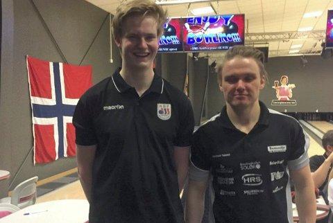 KNALLSTERKT: Jens Mathiesen, til venstre, tok en sterk terdjeplass i singel-NM. Andreas Skoglund ble nummer sju etter å ha vært i toppen gjennom hele mesterskapet.