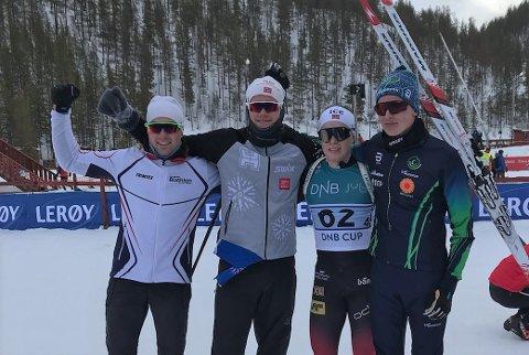 GULLGUTTA: Her er Nord-Østerdal skiskytterkrets sitt vinnerlag i M17-22. Fra venstre: Håvard Kne Galåen, Magnus Horten, Jørgen Solhaug Sæter og Trygve Bondhus Often.