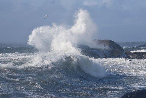 Om det blir like mektig som dette langs kysten i dag, gjenstår å se. Bildet er fra Moutmarka i mars i fjor.