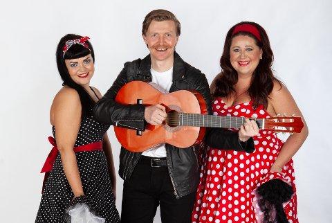 60-tallet: Haukneskorets 60-tallsshow der både polkadot kjoler og brylkrem i skjønn forening med sang og musikk. Lisa Bolin Lien(f.v), Ole Skuvik og Marit Fritjofsen