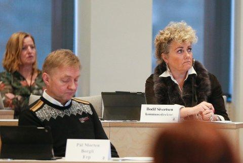 Kommunedirektør Bodil Sivertsen under møte i formannskapet 15. februar, 2021.