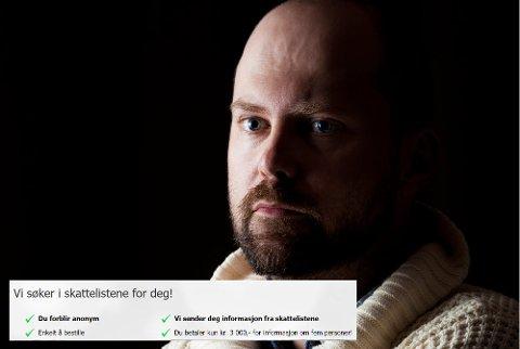 Anonym snoking: Thomas Mathiesen i Etterforsker1 kan sjekke skattetallene for deg, mot betaling. Det finnes en rekke nettsider som tilbyr samme tjeneste.