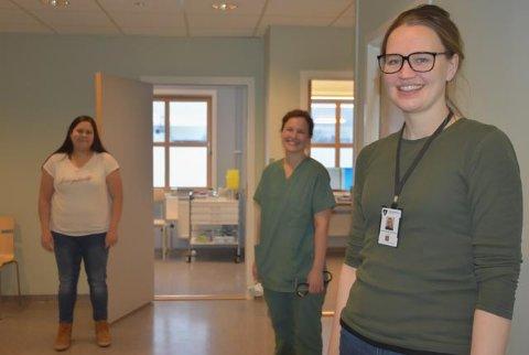 Skjønhauglegene: Sabina Alstad-Kontio (37) (t.v), Stine Duus Dahl (31) og Ingvild Glende Svanstrøm (35) er tre av fire leger på kontoret. Haider Husseiun er fjerdemann, men han har privatpraksis på det kommunale legekontoret.