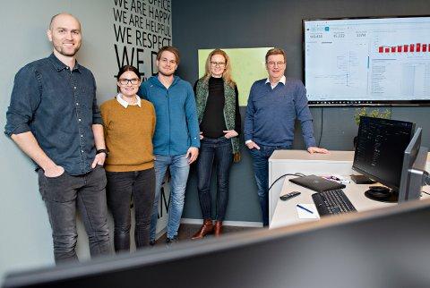 Teamet i Horisontprogrammet i Pipelife: Tor Eirik Østrem (til venstre), Lise M. Brøske, Asgeir Melling, Eirin Kalstø og Roald Boge
