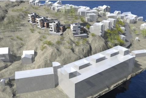 Slik vil de nye funkisboligene ligge i terrenget på Innlandet sett fra en sørlig retning.