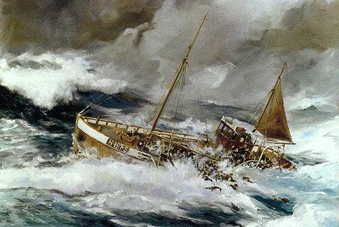 Forliset til «Blia» 11. november 1941 – festa til lerretet av målaren Lepson i 1995.