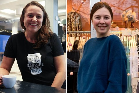 JULESTEMNING: Kafedriver Kjersti With (til venstre) og daglig leder i klesbutikken Pudder, Sandra Arizanta Brynildsen, mener julevindu-konkurransen er et viktig initiativ for å trekke frem julestemningen i byen.