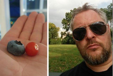 MOT NORMALT?: Et digert blåbær og en bitteliten.. tomat? Truls Nilsen får mye moro ut av hagen.