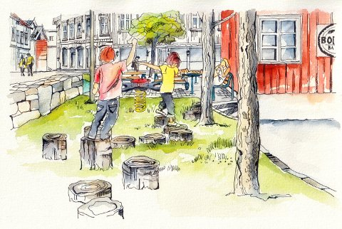 En sosial møteplass: Slik ser initiativtakerne for seg at Bonzoplassen kan se ut neste sommer.