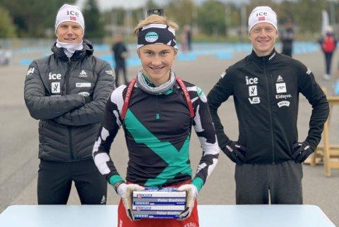 SLO KANONENE: Henrik Omland (foran) slo både Vetle Sjåstad Christiansen og Johannes Thingnes Bø i fredagens skytekonkurranse.