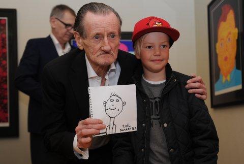 TEGNET: Sander Helander Røset laget en tegning som Pushwagner signerte