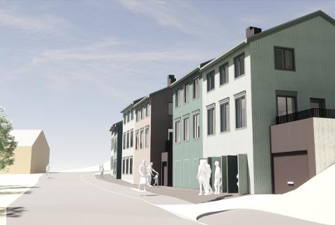 Slik ser illustrasjonene ut i detaljreguleringsplanen for ni leiligheter i Kølkjørarveien. Kilde: sakspapirer Røros kommune.