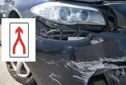 FRONTSKADE: En typisk skade på bilen som kan oppstå ved fletting. - Dessverre velger mange å legge seg til høyre så fort de kan, slik at venstrefilen blir en «snikefil», sier Arne Voll, som er kommunikasjonssjef i Gjensidige.