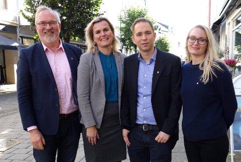 FIRKLØVER: Her er de fire første på lista til Aust-Agder Arbeiderpartis listeforslag. Fra venstre Per Kr. Lunden, Cecilie Knibe Hanssen, Tellef Inge Mørland og Kristine Hallingstad.