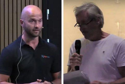 SUNDE-BEKYMRING: Reidar Malm (til høyre) stilte spørsmål til Stian Blindheim i Nye Veier under onsdagens informasjonsmøte i Torbjørnshall. Skjermdump: Mediehuset Lisand