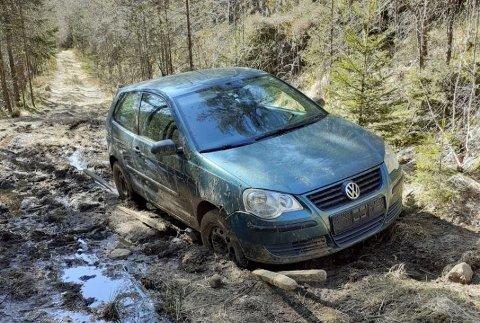 Den lille Poloen kjørte seg fast på den etter hvert så gjørmete skogsvien mellom Stordrange og Flikka.