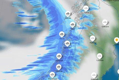 Vi har noen våtre dager i møte, skal vi tro meteorologene. Onsdag er det ventet kraftig regn flere steder i Nordland.