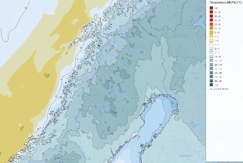 Kuldevarselet viser prognosen fredag klokken 13. Grafikk: Storm Geo