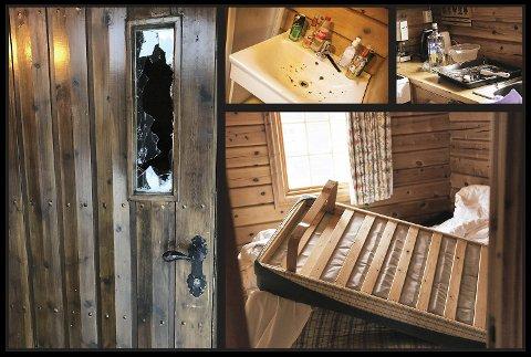 En hytte på Bardøla ble påført en rekke skader i helgen.