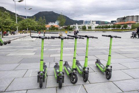 Foreløpig er det kun Ryde som har løperhjul i Bergen. Disse kan parkeres overalt innenfor et område som Ryde har angitt.