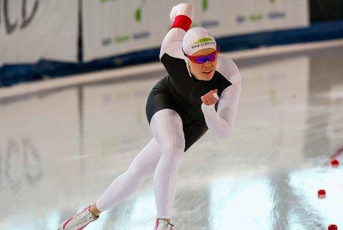 DEBUT: Ellen Bjertnes får sin debut i seniorenes verdenscup til helgen. Her fra NM enkeltdistanser i mars.