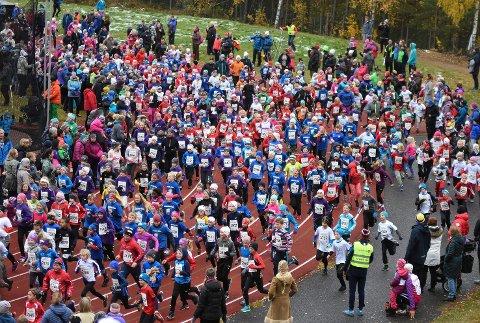 Mange barn løp
