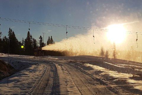 Norefjell  20161103. Vinteren er er like om hjørnet på Østlandet. På Norefjell  i Buskerud får den litt hjelp på veien av snøkanoner som er i full aktivitet.  Foto: Norefjell skisenter / NTB scanpix