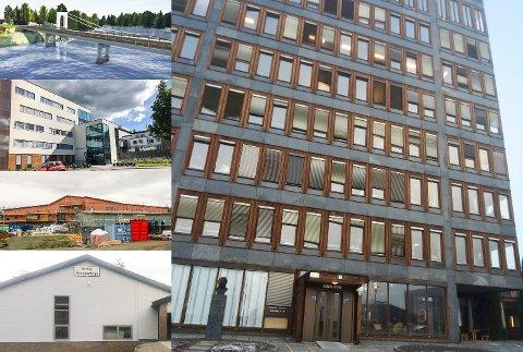 NOE GJORT, MYE IGJEN: Elvika renseanlegg (nederst t.v.) sto ferdig allerede i 2014. Også Modumheimen (nest øverst t.v.) står ferdig, mens Skredsvikmoen barnehage (nest nederst t.v.) er i ferd med å bygges ut. Derimot venter store investeringer som Geithus bru (øverst t.v.) og ikke minst rådhuset i Vikersund (t.h.) for Modum kommune de neste årene.