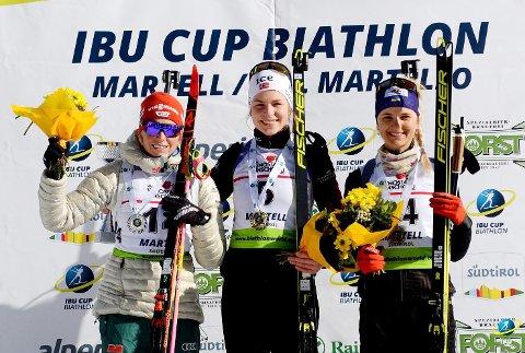 VANT: Ida Lien fra Simostranda IL gikk helt til topps på fellesstarten i IBU-cupen i Italia søndag. Hun slo tyske Franziska Hildebrand og  Yuliya Zhuravok fra Ukraina.