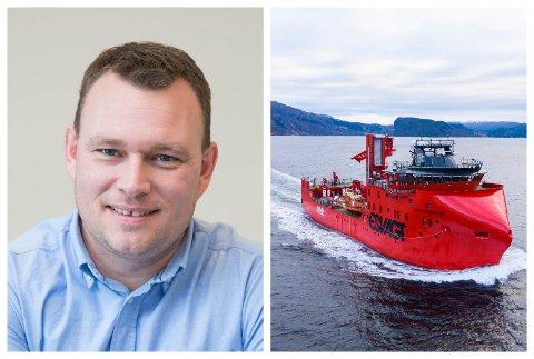 NØGD: Dagleg leiar Erlend Hatleberg ved New Havyard Ship Technology i Leirvik er nøgd med at verftet har levert sitt fjerde vindmølleskip, som også er det første i ein ny serie til ESVAGT.