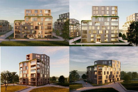 Foreløpige skisser av hvordan noen av de planlagte blokkene på Glombo kanskje kan bli seende ut. Utbyggerne understreker imidlertid at de er i en veldig tidlig fase av prosjektet.