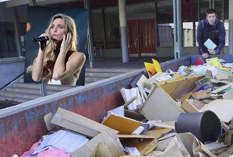 FANT KARAKTERBØKER: Pål-Inge Storsveen fant mange karakterbøker i denne containeren da han var ute og trente med hunden. Isabel Ødegård reagerer sterkt på at hennes og flere medelevers karakterbøker er på avveie når Parken ungdomsskole klargjøres for riving.