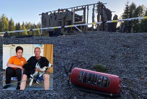 Tanja og Petter Kristoffersen hadde ikke mer enn det de stod og gikk i etter den voldsomme brannen onsdag.