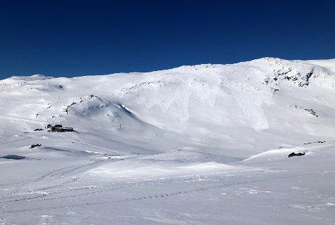 SNØSKRED: Det er betydelig snøskredfare i fjellet. Når sola får tak er det fare for flere naturlig utløste våte løssnøskred. Bildet viser snøskred ved Krossbu tidligere i vinter.