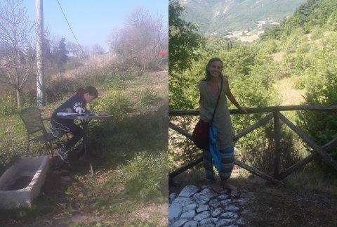 Kristin Letrud (høyre) fra Tretten har bodd i Italia i over 20 år. Til venstre sitter yngstemann, Nils (13), og har mattetime via Skype.