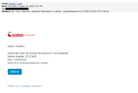 SVINDEL: Denne e-posten fikk Kjell-Arne Ottesen tilsendt. Her ber svindlerne, som utgir seg for å være Posten, om at han skal betale frakt for en pakke.