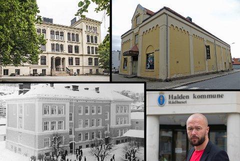 DETTE MENER AP: Arve Sigmundstad svarer Sverre Stang på hans spørsmål rundt Rødsberg ungdomsskole (oppe til venstre), Aladding kino og Gutteskolen, som i dag huser biblioteket (nede til venstre).