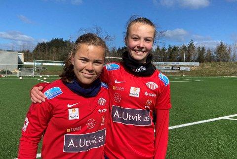 SPENNENDE STORD-DUO: Olaug Tvedten (t.v.) og 15 år gamle Cille Nilsen starter sammen på midtbanen til Avaldsnes i treningskampen mot Arna-Bjørnar lørdag.