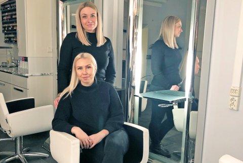 KREATIVT YRKE: - Vi ble frisører fordi det er et kreativt yrke hvor man får utfordret seg selv, og møter mange trivelige mennesker sier Marthe Eriksen (foran) og Linn Svanhild Berg Jørgensen som starter opp egen bedrift.