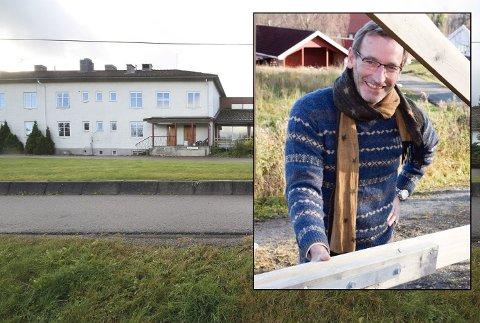 UTÅLMODIG: Administrerende direktør i Borger AS, Herman Henrik Bay (innfelt), forteller at de ønsker å etablere seg i det gamle sykehjemmet i Hof så snart som mulig.