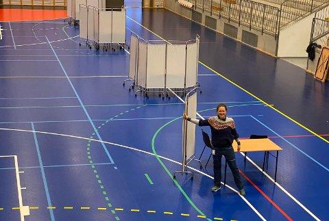 Fredag var det øvelse på massevaksinering i Høyanghallen.