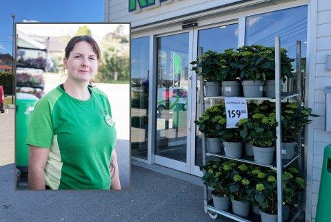 FIKK SEG EN LITE HYGGELIG OVERRASKELSE: Da butikksjef Marion Villekjær (innfelt) skulle stenge butikken på tirsdag, oppdaget hun at noe manglet utenfor inngangen.