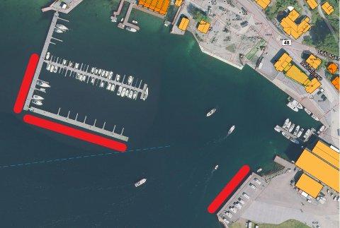 """RESERVERT: Dei raude felta viser kaiane som er reserverte for skutene som kjem til «Cruise in Company""""-hamna Rosendal. (Illustrasjon: Rosendal Hamn)."""