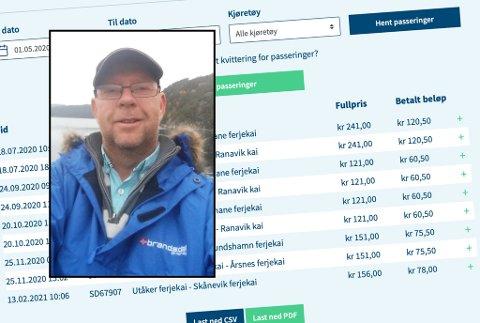 Paul Karsten Sjo (53) frå Halsnøy fekk seg ein uventa rekning for ei reise han aldri tok.
