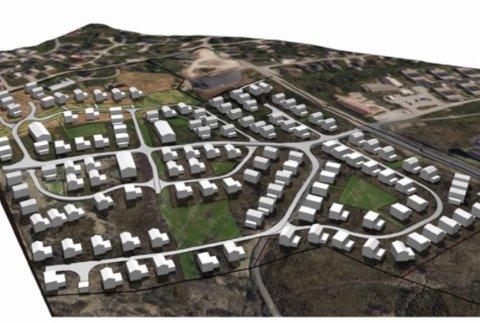 BYMARKA: Slik kan boligfeltet Bymarka på Leknes se ut når det er ferdig utbygd med ca. 100 boenheter. Illustrasjon: Norconsult