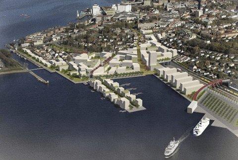 Skisse som viser hvordan Moss havn med ny jernbane eventuelt kan fortone seg i fremtiden.